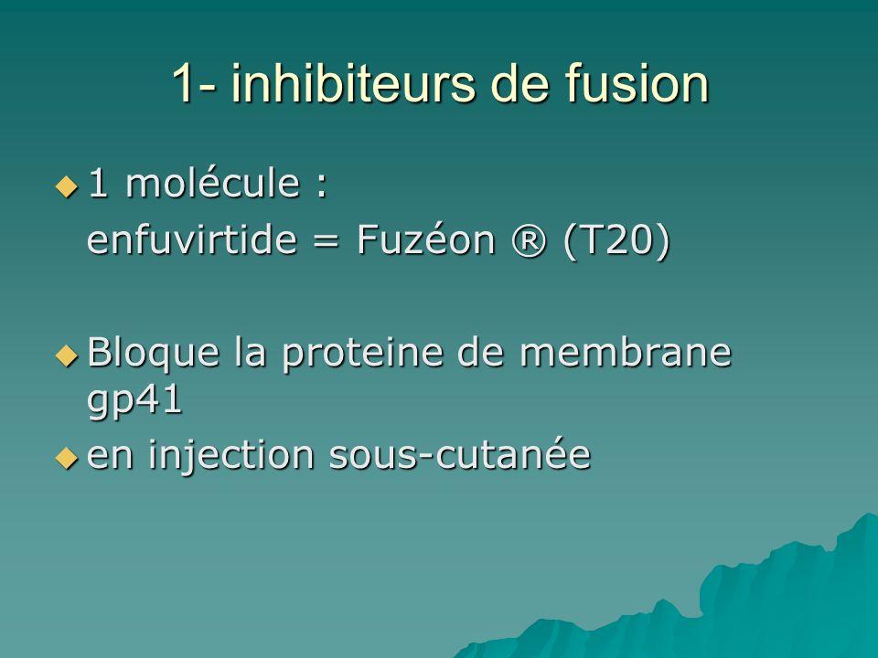 1- inhibiteurs de fusion 1 molécule : 1 molécule : enfuvirtide = Fuzéon ® (T20) Bloque la proteine de membrane gp41 Bloque la proteine de membrane gp4