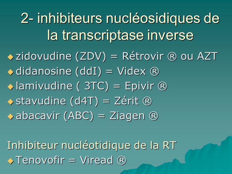 2- inhibiteurs nucléosidiques de la transcriptase inverse zidovudine (ZDV) = Rétrovir ® ou AZT zidovudine (ZDV) = Rétrovir ® ou AZT didanosine (ddI) =