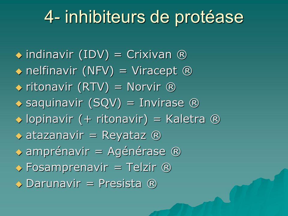 4- inhibiteurs de protéase indinavir (IDV) = Crixivan ® indinavir (IDV) = Crixivan ® nelfinavir (NFV) = Viracept ® nelfinavir (NFV) = Viracept ® riton