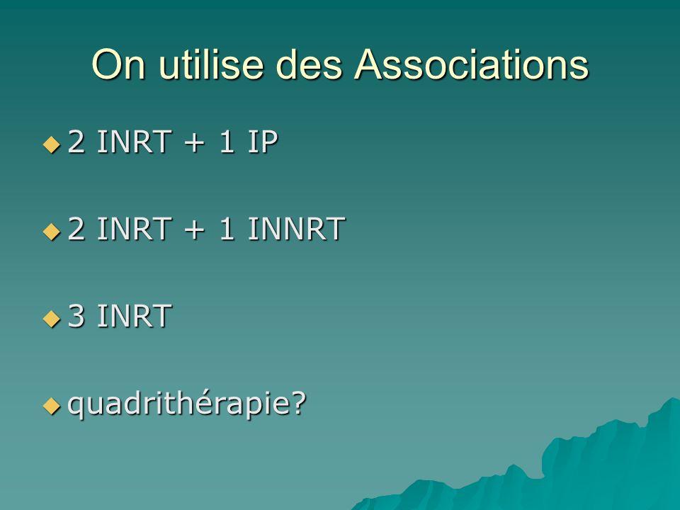On utilise des Associations 2 INRT + 1 IP 2 INRT + 1 IP 2 INRT + 1 INNRT 2 INRT + 1 INNRT 3 INRT 3 INRT quadrithérapie? quadrithérapie?