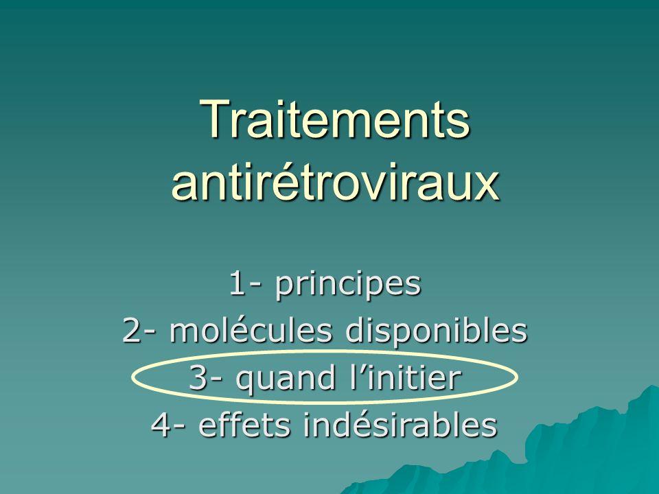 Traitements antirétroviraux 1- principes 2- molécules disponibles 3- quand linitier 4- effets indésirables