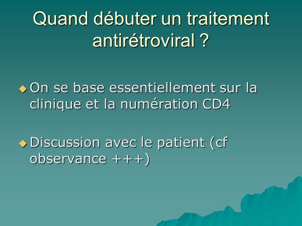 Quand débuter un traitement antirétroviral ? On se base essentiellement sur la clinique et la numération CD4 On se base essentiellement sur la cliniqu