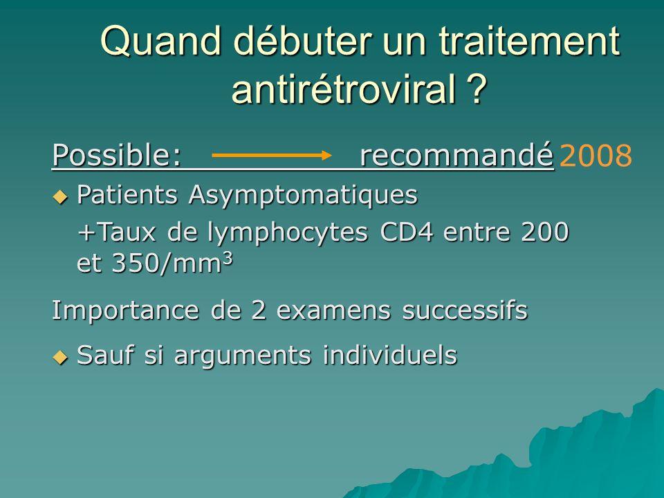 Quand débuter un traitement antirétroviral ? Possible: recommandé Patients Asymptomatiques Patients Asymptomatiques +Taux de lymphocytes CD4 entre 200