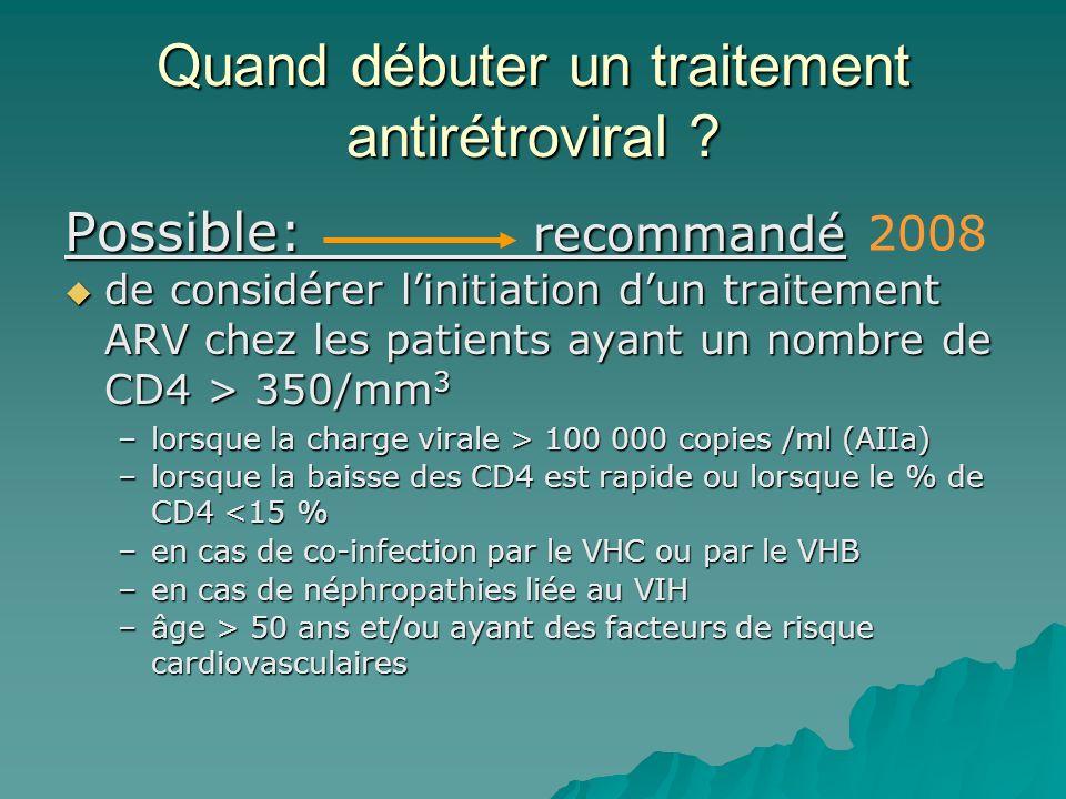 Quand débuter un traitement antirétroviral ? Possible: recommandé de considérer linitiation dun traitement ARV chez les patients ayant un nombre de CD