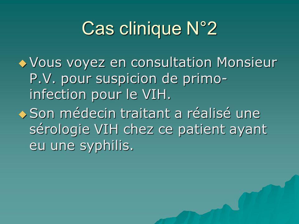 Cas clinique N°2 Vous voyez en consultation Monsieur P.V. pour suspicion de primo- infection pour le VIH. Vous voyez en consultation Monsieur P.V. pou