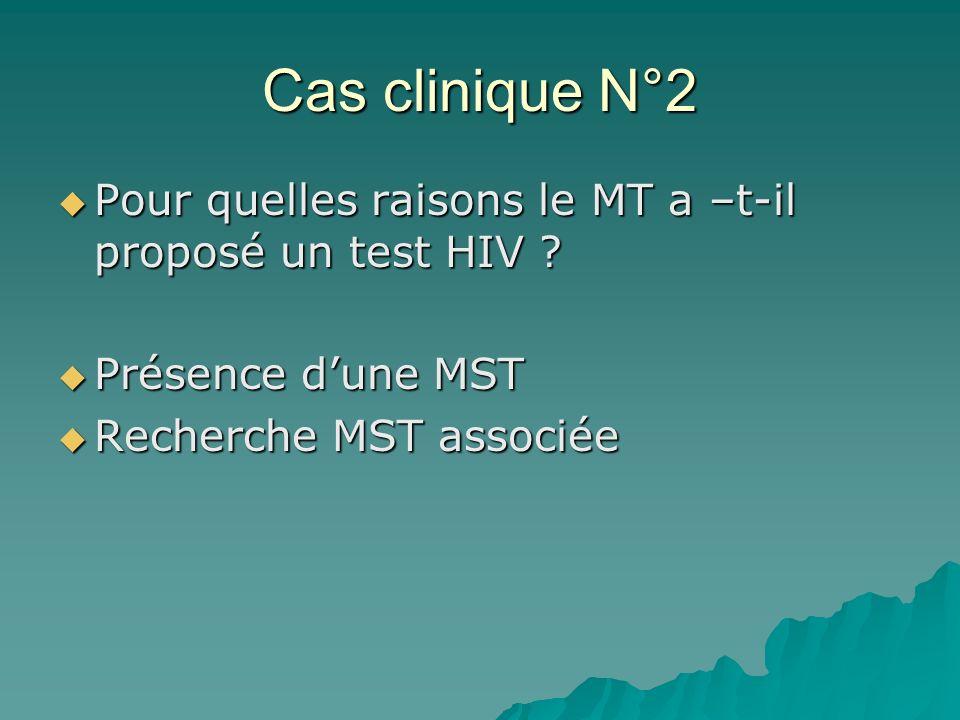 Cas clinique N°2 Pour quelles raisons le MT a –t-il proposé un test HIV ? Pour quelles raisons le MT a –t-il proposé un test HIV ? Présence dune MST P
