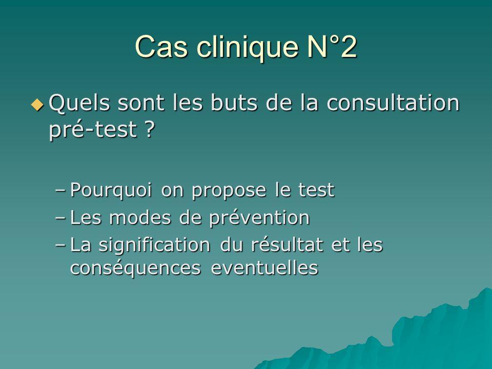 Cas clinique N°2 Quels sont les buts de la consultation pré-test ? Quels sont les buts de la consultation pré-test ? –Pourquoi on propose le test –Les