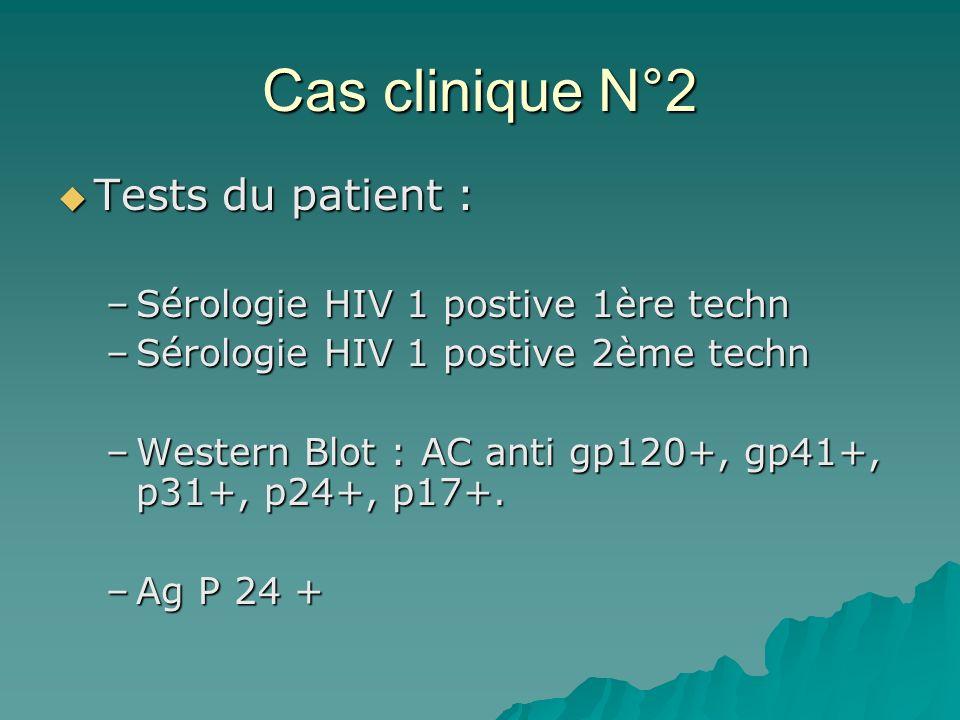 Cas clinique N°2 Tests du patient : Tests du patient : –Sérologie HIV 1 postive 1ère techn –Sérologie HIV 1 postive 2ème techn –Western Blot : AC anti