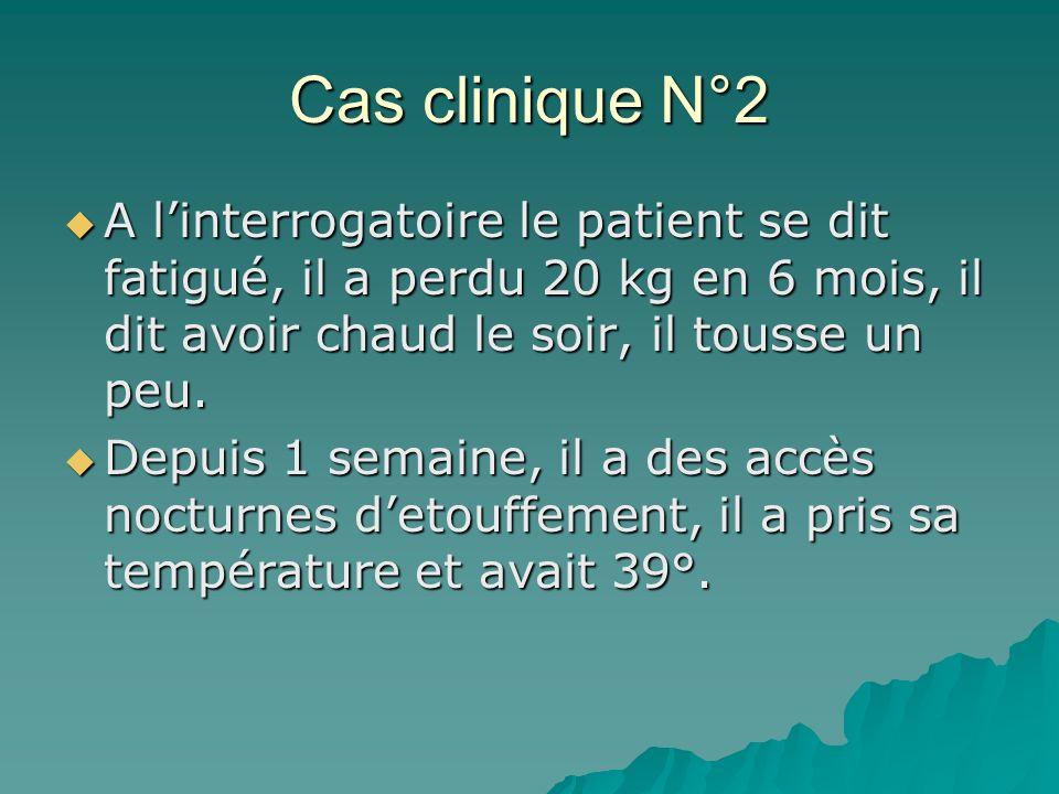 Cas clinique N°2 A linterrogatoire le patient se dit fatigué, il a perdu 20 kg en 6 mois, il dit avoir chaud le soir, il tousse un peu. A linterrogato