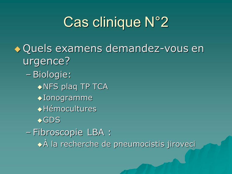 Cas clinique N°2 Quels examens demandez-vous en urgence? Quels examens demandez-vous en urgence? –Biologie: NFS plaq TP TCA NFS plaq TP TCA Ionogramme