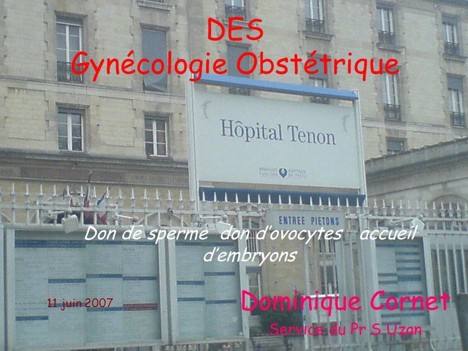 DES Gynécologie Obstétrique Don de sperme don dovocytes accueil dembryons Dominique Cornet Service du Pr S Uzan 11 juin 2007