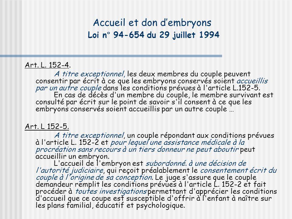 Accueil et don dembryons Loi n° 94-654 du 29 juillet 1994 Art.