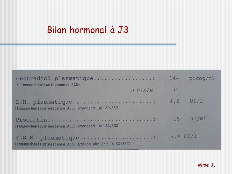 Bilan hormonal à J3 Mme J.
