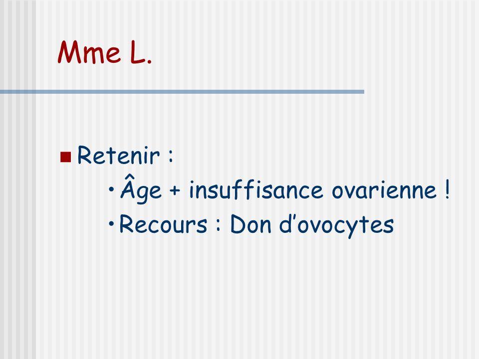 Mme L. Retenir : Âge + insuffisance ovarienne ! Recours : Don dovocytes