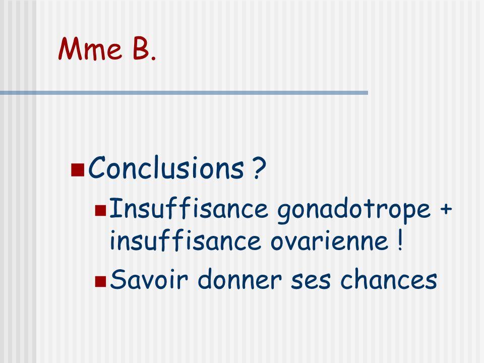 Conclusions ? Insuffisance gonadotrope + insuffisance ovarienne ! Savoir donner ses chances