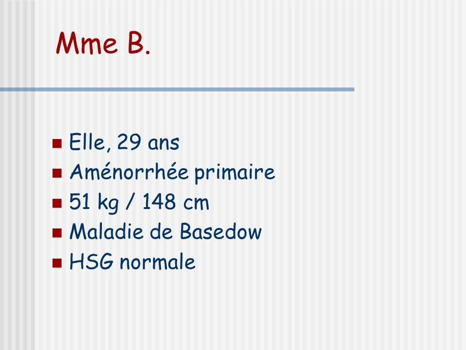 Mme B. Elle, 29 ans Aménorrhée primaire 51 kg / 148 cm Maladie de Basedow HSG normale