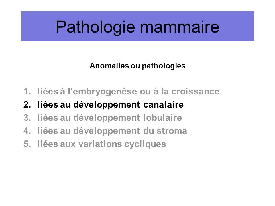 Pathologie mammaire Anomalies ou pathologies 1.liées à l'embryogenèse ou à la croissance 2.liées au développement canalaire 3.liées au développement l