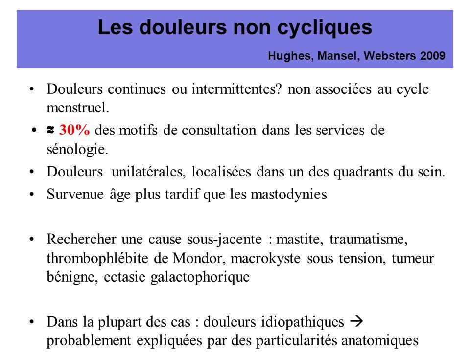 Les douleurs non cycliques Hughes, Mansel, Websters 2009 Douleurs continues ou intermittentes? non associées au cycle menstruel. 30% des motifs de con