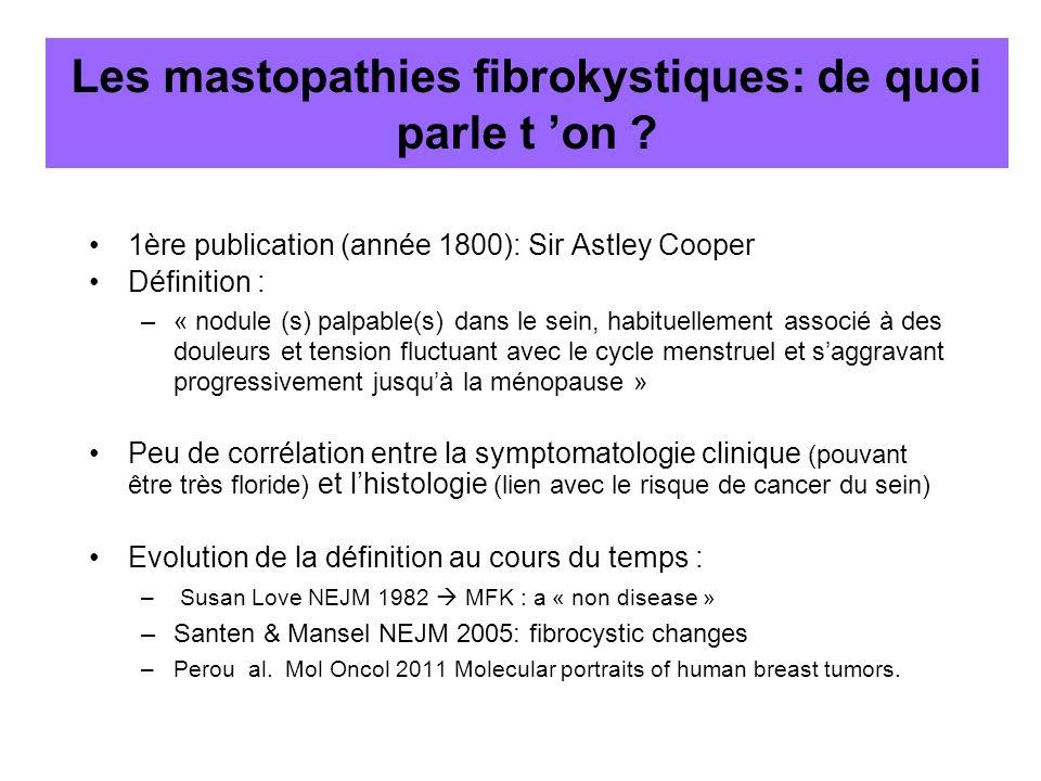 Les mastopathies fibrokystiques: de quoi parle t on ? 1ère publication (année 1800): Sir Astley Cooper Définition : –« nodule (s) palpable(s) dans le
