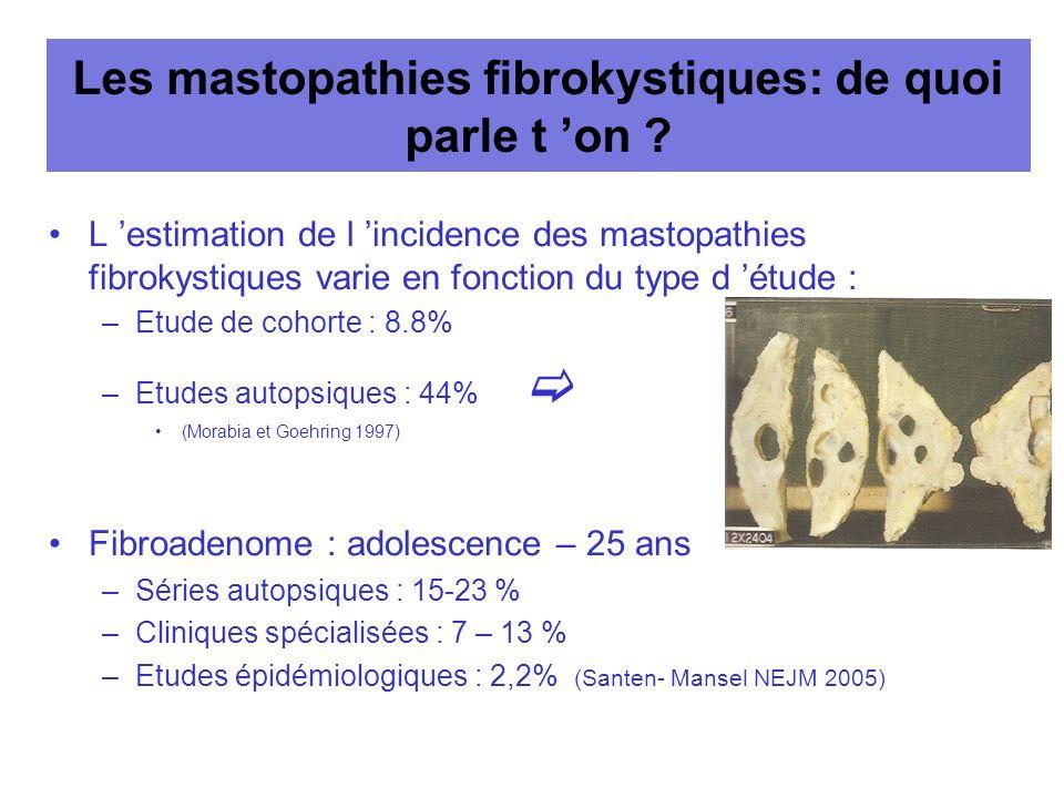 Les mastopathies fibrokystiques: de quoi parle t on ? L estimation de l incidence des mastopathies fibrokystiques varie en fonction du type d étude :