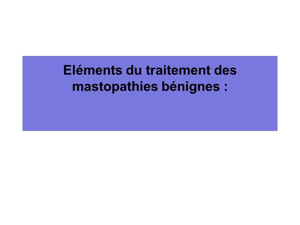 Eléments du traitement des mastopathies bénignes :