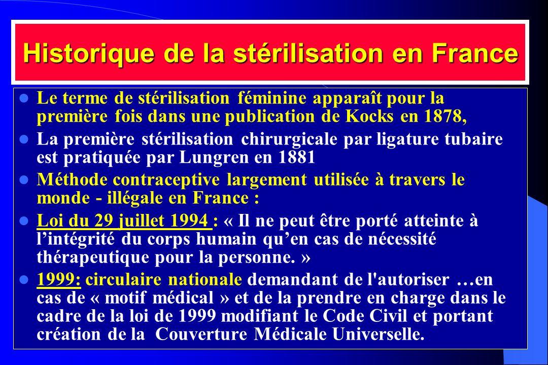Historique de la stérilisation en France Le terme de stérilisation féminine apparaît pour la première fois dans une publication de Kocks en 1878, La p