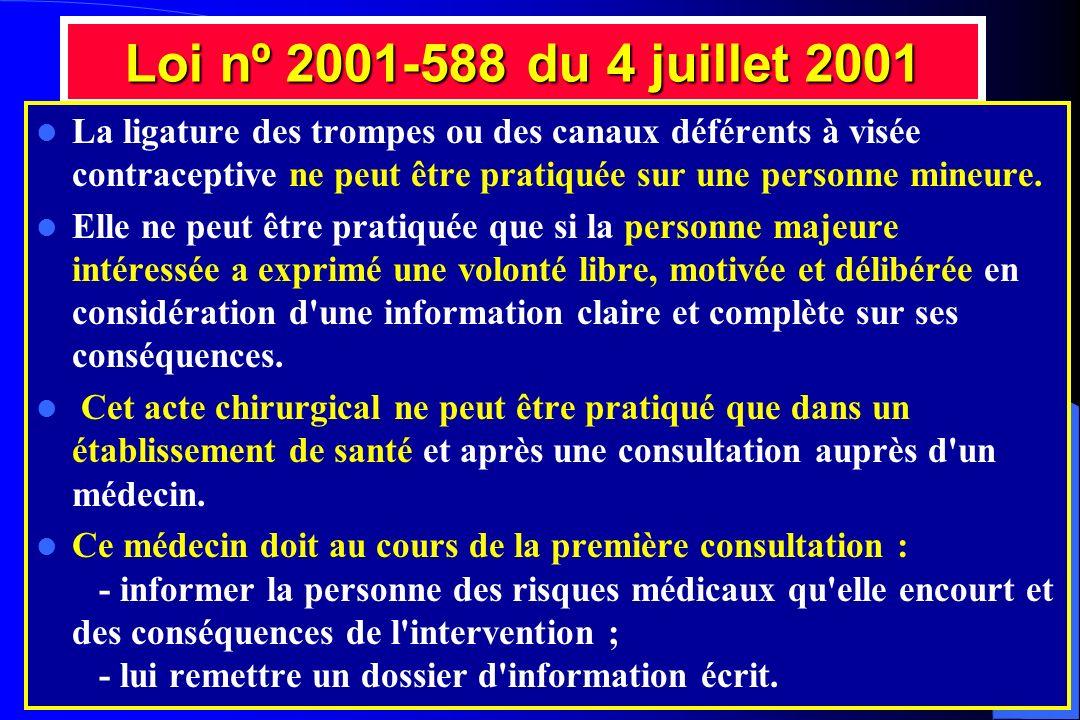 Loi nº 2001-588 du 4 juillet 2001 La ligature des trompes ou des canaux déférents à visée contraceptive ne peut être pratiquée sur une personne mineur