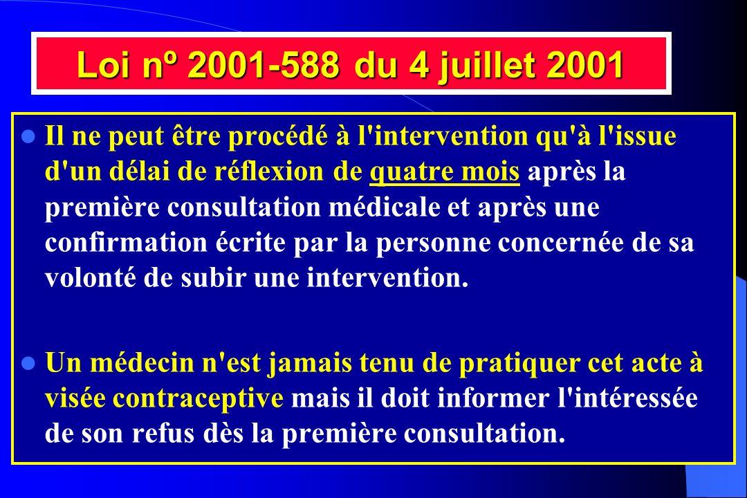 Loi nº 2001-588 du 4 juillet 2001 Il ne peut être procédé à l'intervention qu'à l'issue d'un délai de réflexion de quatre mois après la première consu