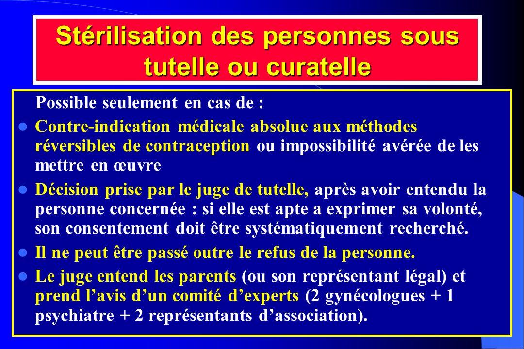 Stérilisation des personnes sous tutelle ou curatelle Possible seulement en cas de : Contre-indication médicale absolue aux méthodes réversibles de co