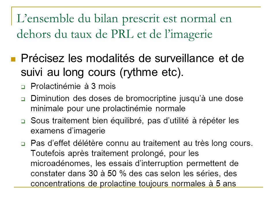 Lensemble du bilan prescrit est normal en dehors du taux de PRL et de limagerie Précisez les modalités de surveillance et de suivi au long cours (ryth