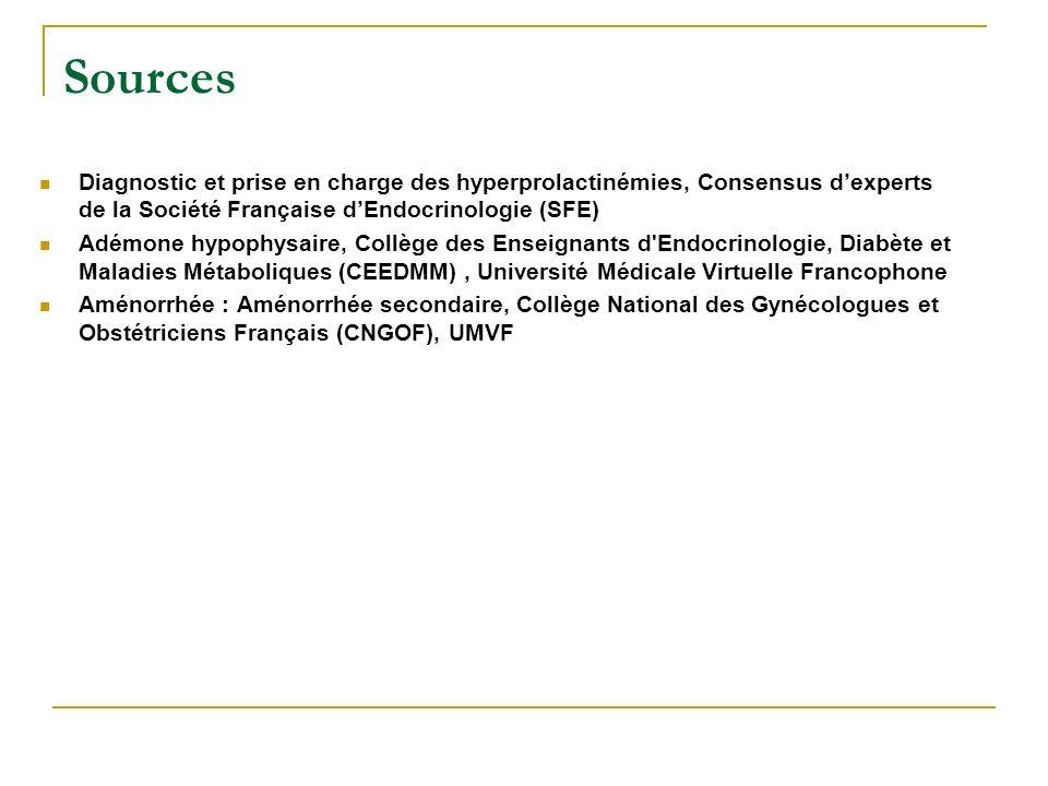 Sources Diagnostic et prise en charge des hyperprolactinémies, Consensus dexperts de la Société Française dEndocrinologie (SFE) Adémone hypophysaire,