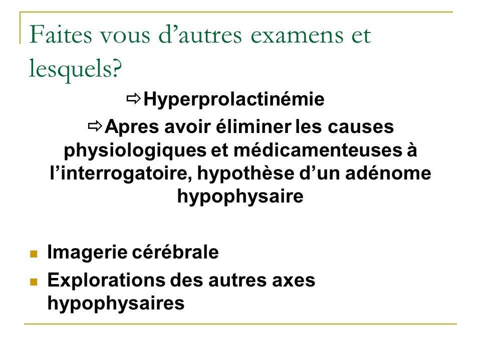 Faites vous dautres examens et lesquels? Hyperprolactinémie Apres avoir éliminer les causes physiologiques et médicamenteuses à linterrogatoire, hypot