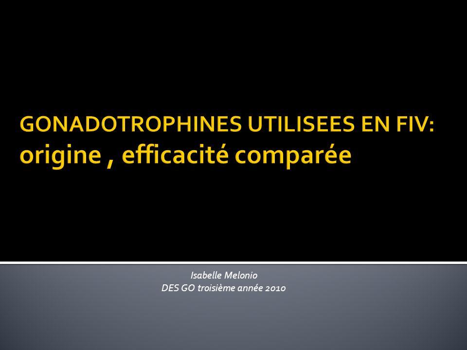 GONADOTROPHINES ANALOGUES LHRH INDICATIONS PROTOCOLES EFFICACITE FIV :RESULTATS EN France CONCLUSION BIBILOGRAPHIE