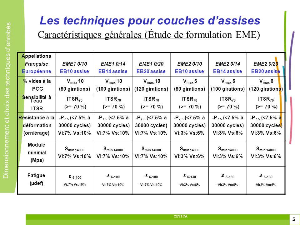 5 5 Dimensionnement et choix des techniques denrobés 5 COTITA Les techniques pour couches dassises Appellations Française Européenne EME1 0/10 EB10 as