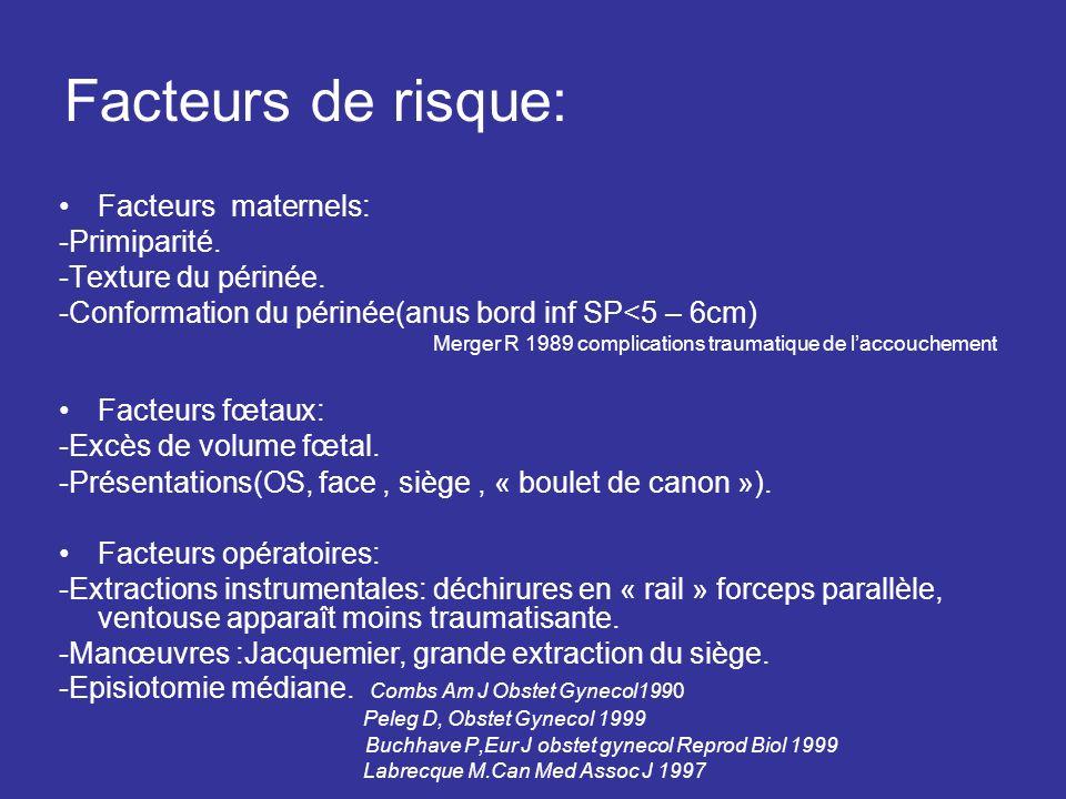 Facteurs de risque: Facteurs maternels: -Primiparité. -Texture du périnée. -Conformation du périnée(anus bord inf SP<5 – 6cm) Merger R 1989 complicati
