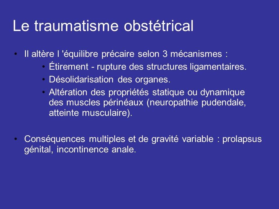 Le traumatisme obstétrical Il altère l 'équilibre précaire selon 3 mécanismes : Étirement - rupture des structures ligamentaires. Désolidarisation des