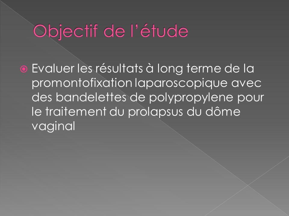 Evaluer les résultats à long terme de la promontofixation laparoscopique avec des bandelettes de polypropylene pour le traitement du prolapsus du dôme