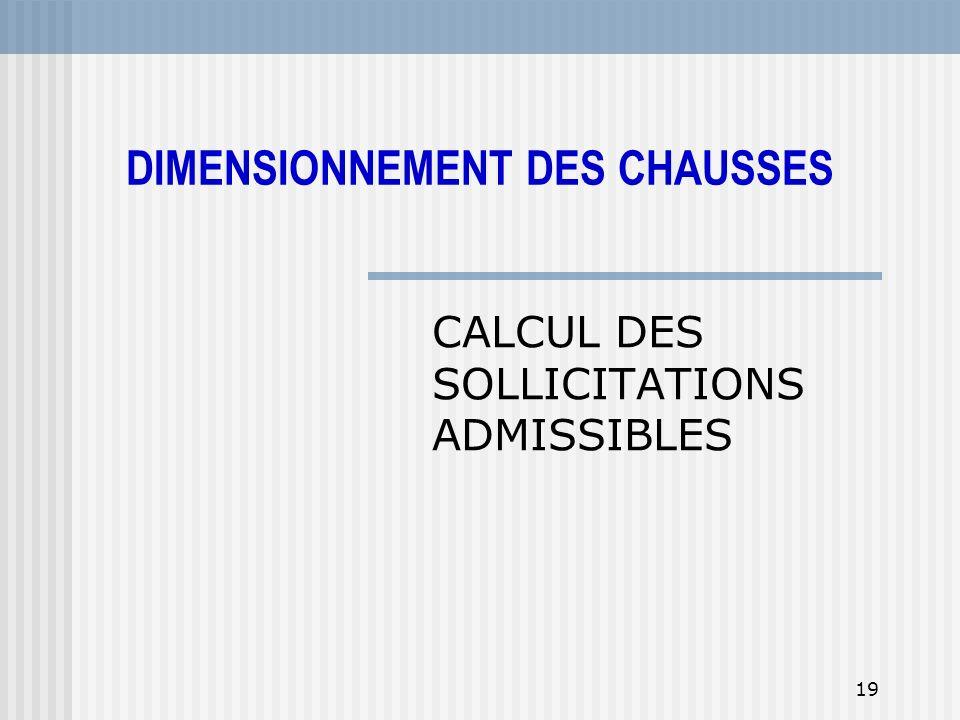 19 CALCUL DES SOLLICITATIONS ADMISSIBLES DIMENSIONNEMENT DES CHAUSSES