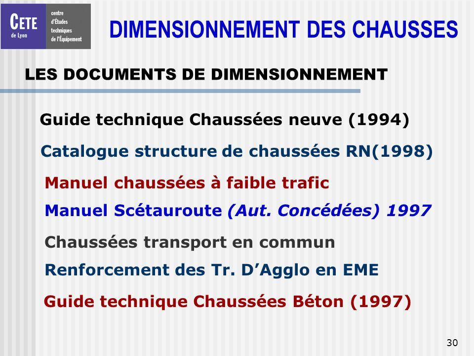 30 LES DOCUMENTS DE DIMENSIONNEMENT Guide technique Chaussées neuve (1994) Catalogue structure de chaussées RN(1998) Manuel chaussées à faible trafic
