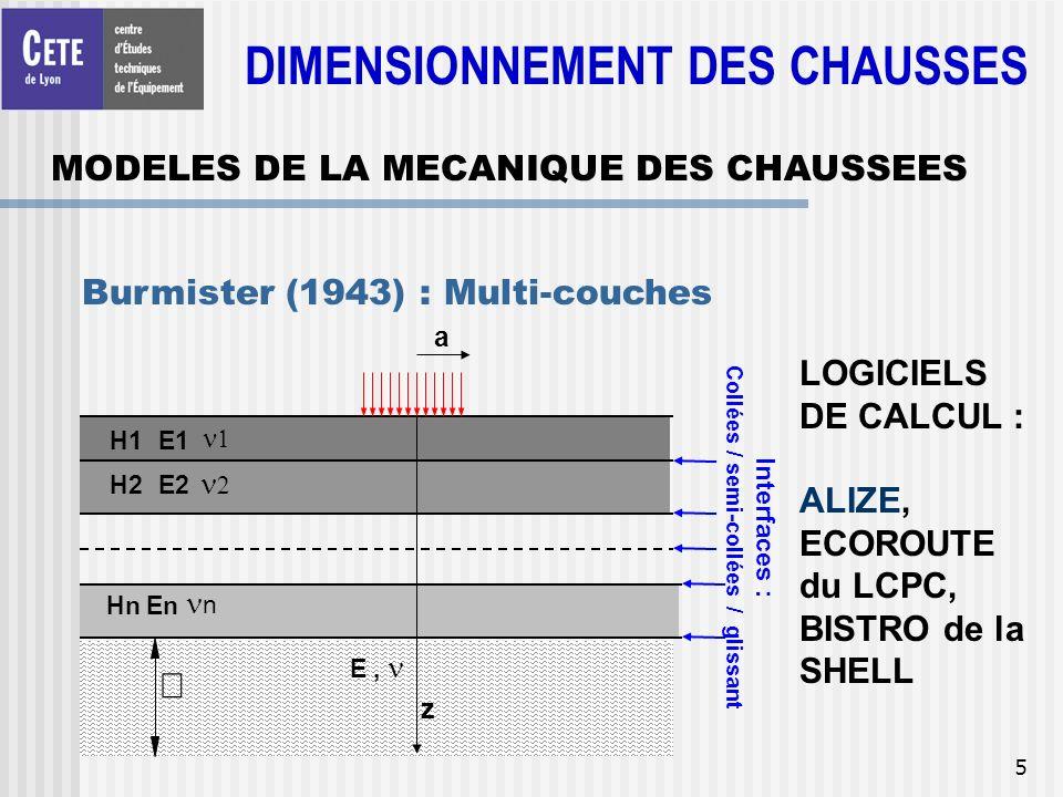 5 MODELES DE LA MECANIQUE DES CHAUSSEES Burmister (1943) : Multi-couches H1E1 H2E2 E, LOGICIELS DE CALCUL : ALIZE, ECOROUTE du LCPC, BISTRO de la SHEL