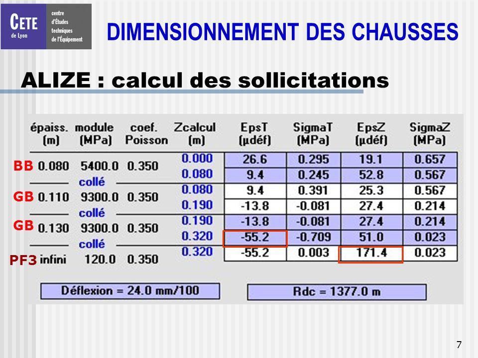 7 ALIZE : calcul des sollicitations DIMENSIONNEMENT DES CHAUSSES BB GB PF3