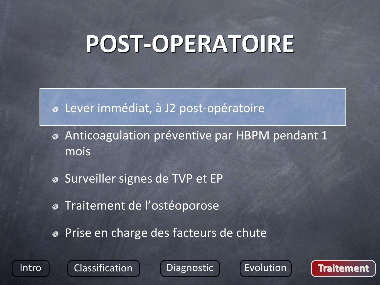 POST-OPERATOIRE Lever immédiat, à J2 post-opératoire Anticoagulation préventive par HBPM pendant 1 mois Surveiller signes de TVP et EP Traitement de l