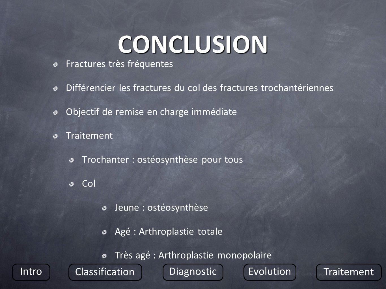 CONCLUSION Fractures très fréquentes Différencier les fractures du col des fractures trochantériennes Objectif de remise en charge immédiate Traitemen