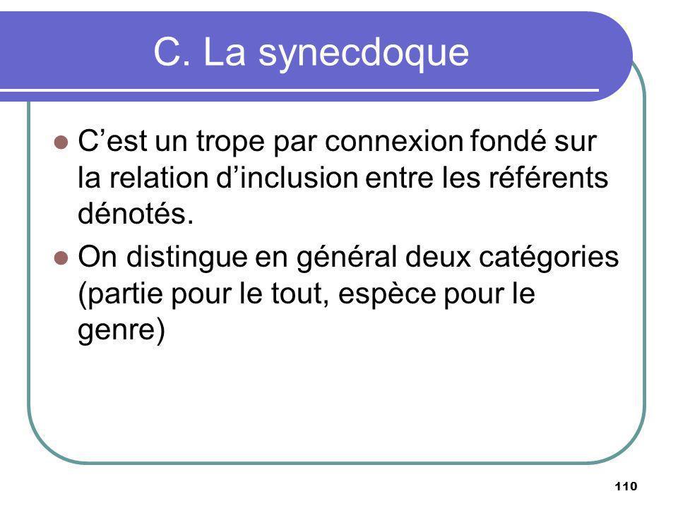 C. La synecdoque Cest un trope par connexion fondé sur la relation dinclusion entre les référents dénotés. On distingue en général deux catégories (pa