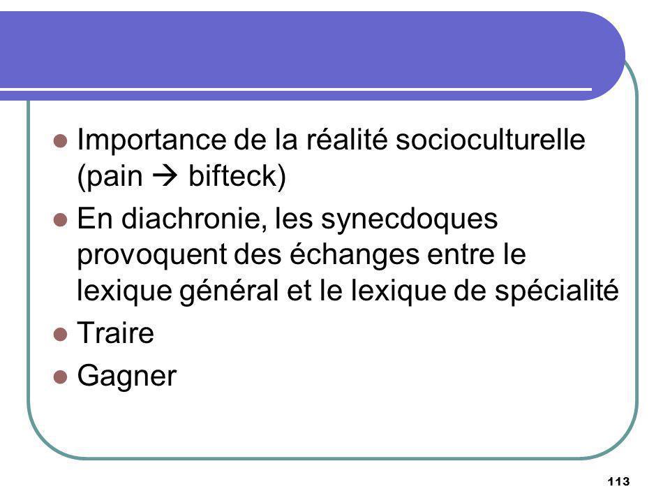 Importance de la réalité socioculturelle (pain bifteck) En diachronie, les synecdoques provoquent des échanges entre le lexique général et le lexique