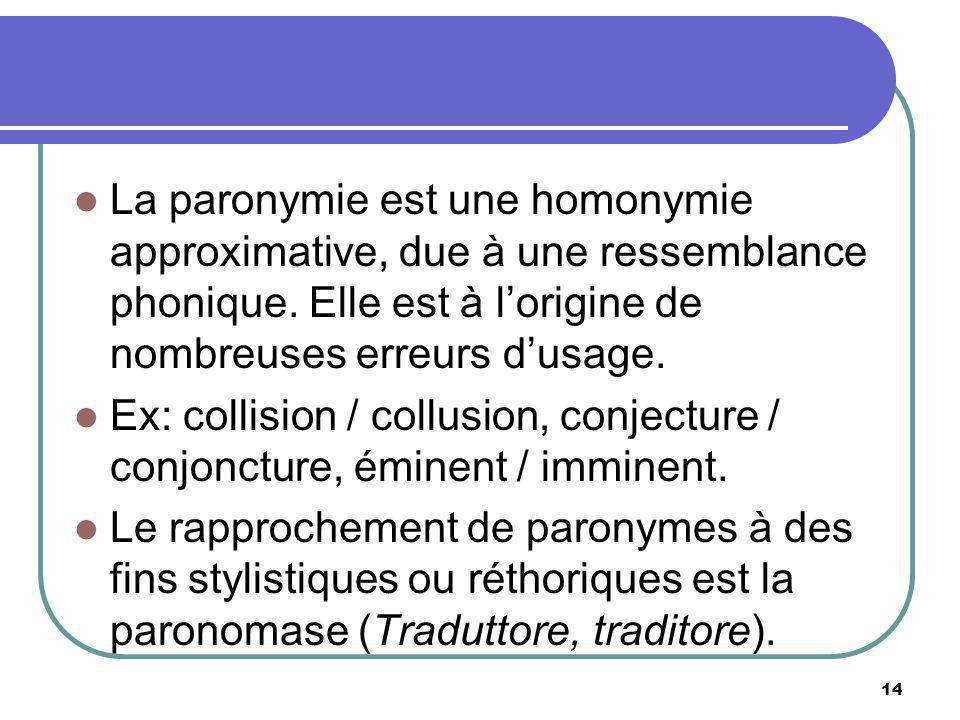 La paronymie est une homonymie approximative, due à une ressemblance phonique. Elle est à lorigine de nombreuses erreurs dusage. Ex: collision / collu