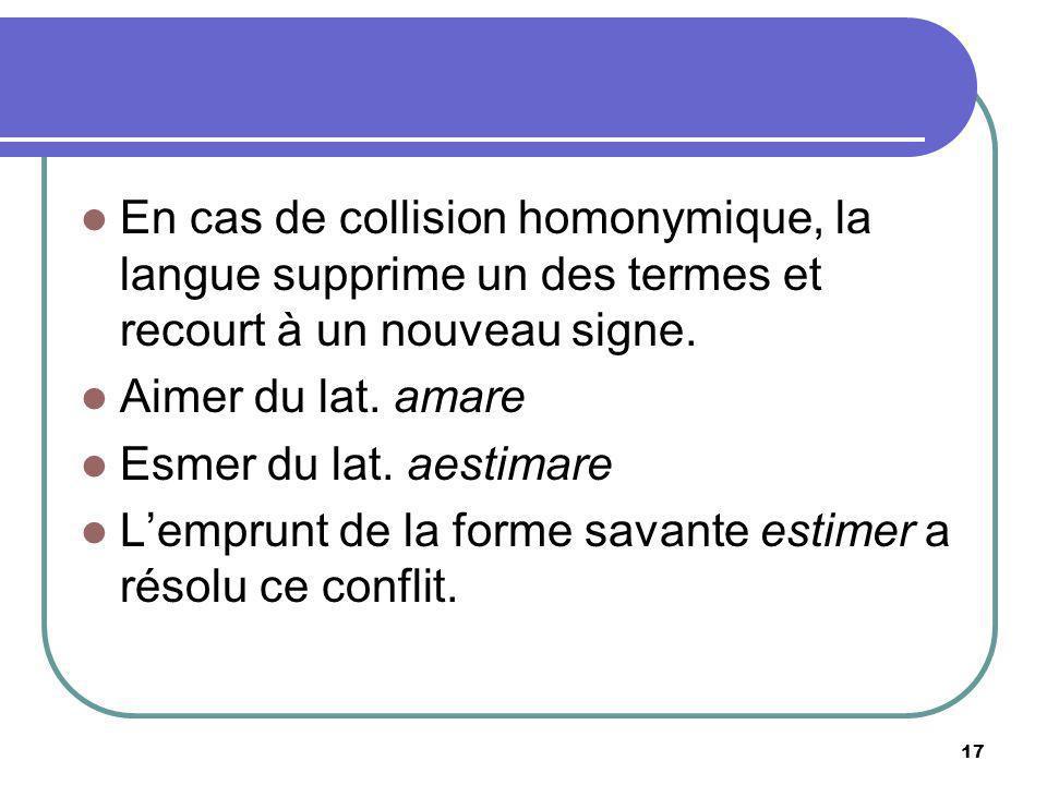 En cas de collision homonymique, la langue supprime un des termes et recourt à un nouveau signe. Aimer du lat. amare Esmer du lat. aestimare Lemprunt