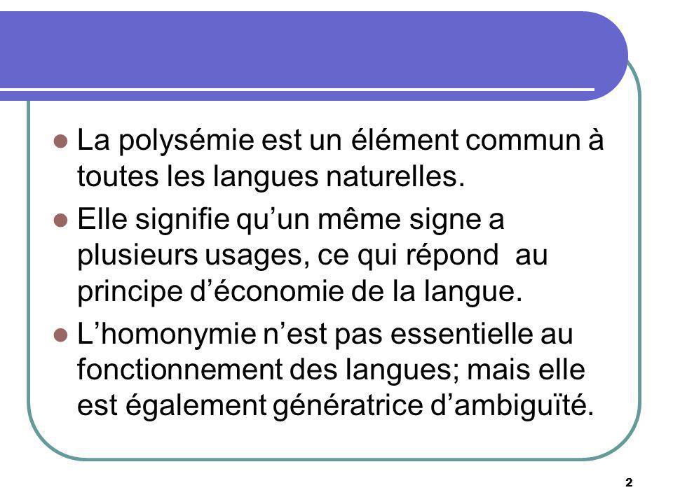 La polysémie est un élément commun à toutes les langues naturelles. Elle signifie quun même signe a plusieurs usages, ce qui répond au principe décono