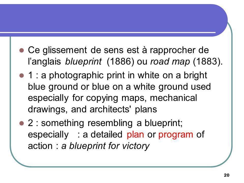 Ce glissement de sens est à rapprocher de langlais blueprint (1886) ou road map (1883). 1 : a photographic print in white on a bright blue ground or b