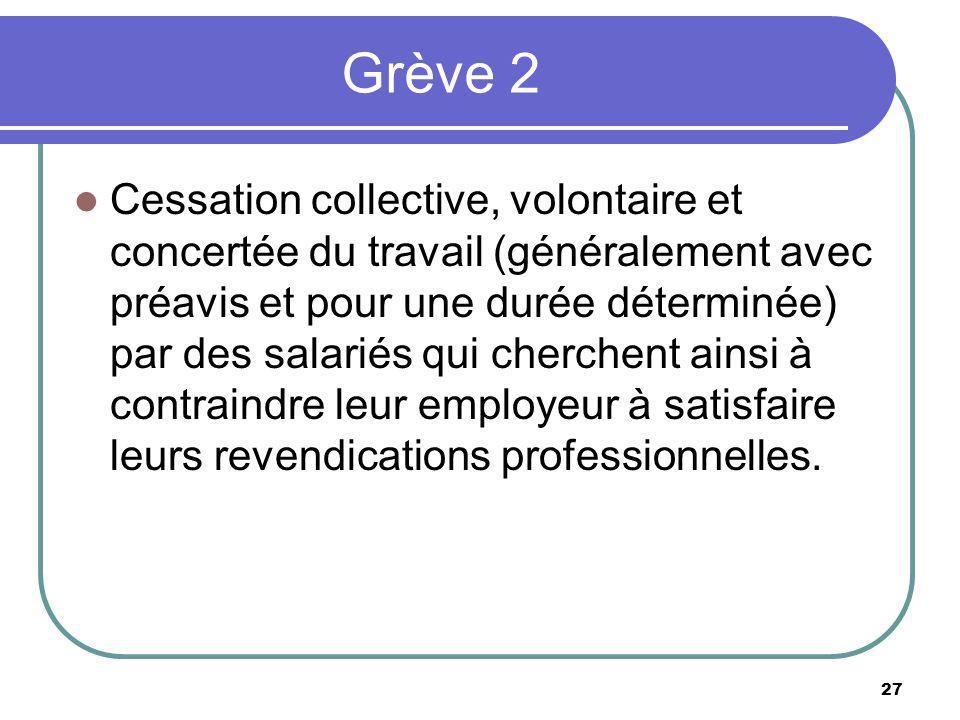 Grève 2 Cessation collective, volontaire et concertée du travail (généralement avec préavis et pour une durée déterminée) par des salariés qui cherche